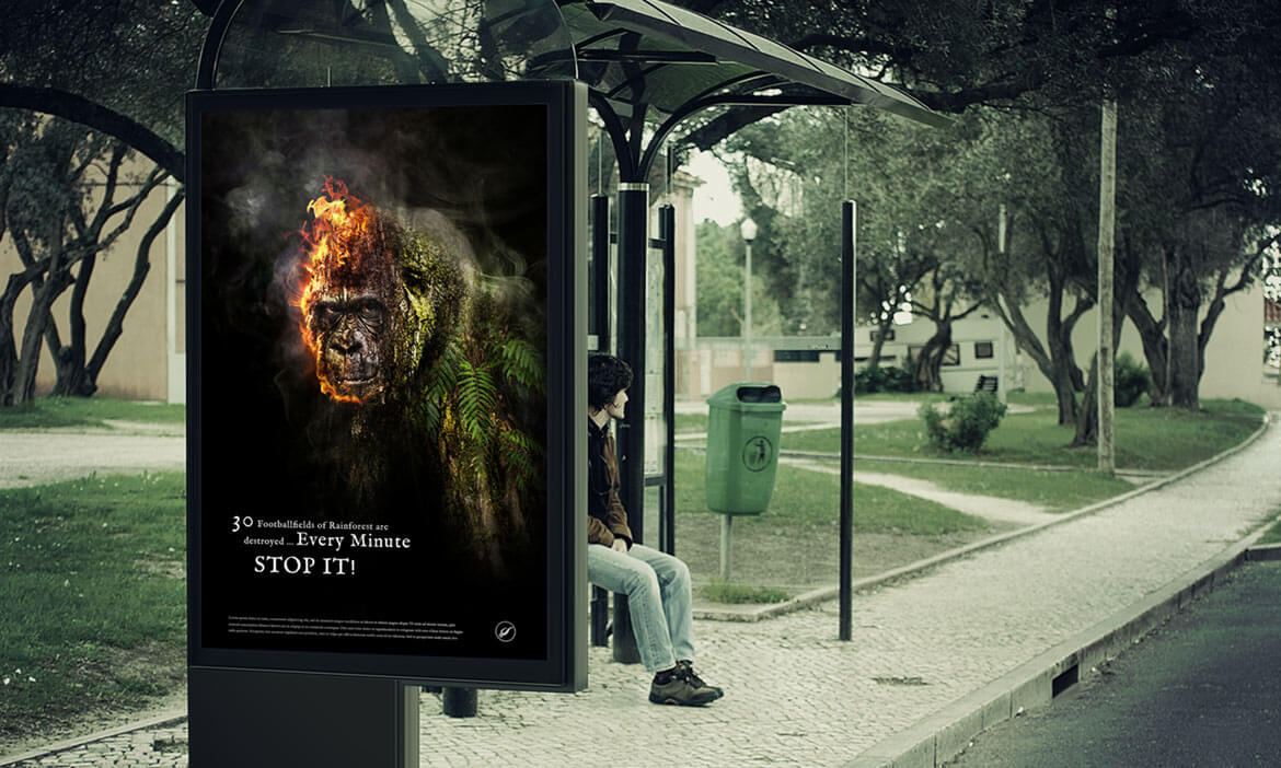 Stop destroying the Rainforest - Photoshop Artwork von Thomas Schiffmann Plakat Out of Home