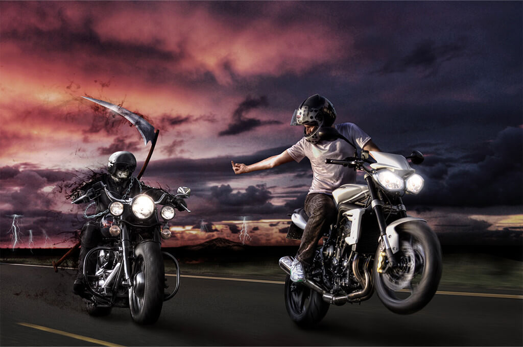 Brave Biker Photoshop Artwork von Thomas Schiffmann Freelance Designer und Photoshop Artist