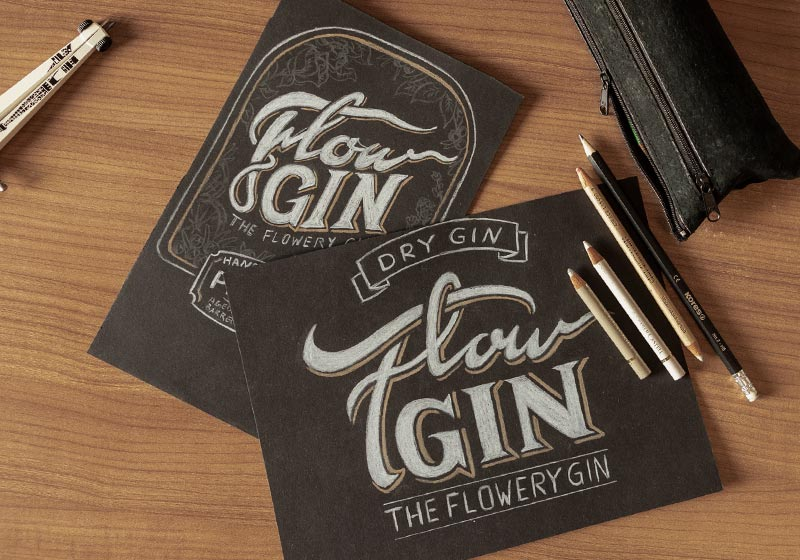 FlowGin Flaschenlabel Design Scribbles 01 by Thomas-Schiffmann Freelance Grafikdesigner